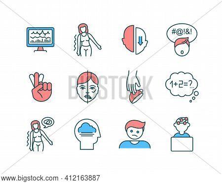 Brain Health Rgb Color Icons Set. Facial Droop. Neurofeedback. Partial Paralysis. Alzheimer Disease.