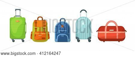 Travel Luggage, Metal Backpacks, Plastic Case And Leather Bag. Travel Suitcase With Wheels, Journey