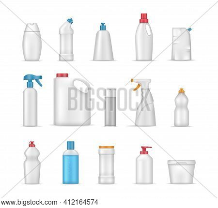House Cleaning Products Realistic Mockup. Cleaning Supplies For Home, Chemistry Sprays Household, Re