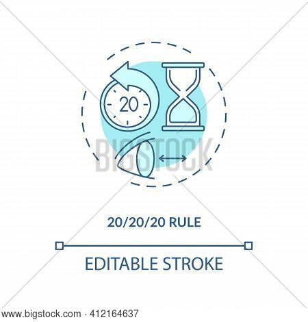 Use 20 20 20 Rule Concept Icon. Digital Eyestrain Prevention Tips. Ways To Prevent Eye Strain And Pa