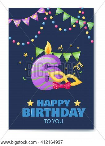 Birthday Anniversary Number Candle. Cheerful Celebration Gift Card With Burn Candle For Cake, Birthd