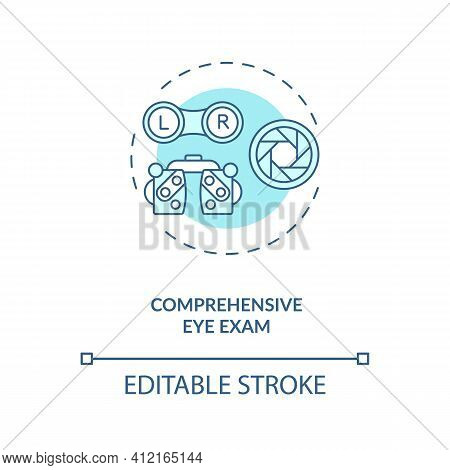 Comprehensive Eye Exam Concept Icon. Eye Health Tips. Measurements How Clearly And Good Each Eye Is