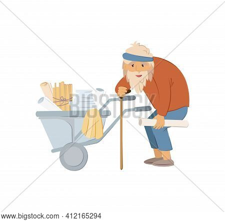 Homeless People Concept. Elderly Man Needing Help. Elderly Homeless Unemployment Old Man With Cane I