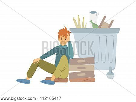 Homeless People Concept. Young Man Begging Money And Needing Help. Homeless Guy, Tramp, Sits On The