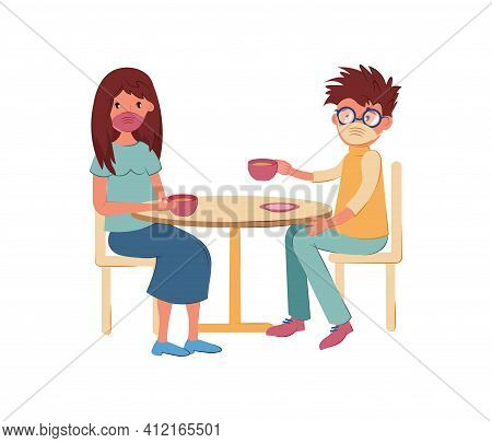Preventing Spread Respiratory Infections. People Sitting With Table Wearing Face Masks, Vector Carto
