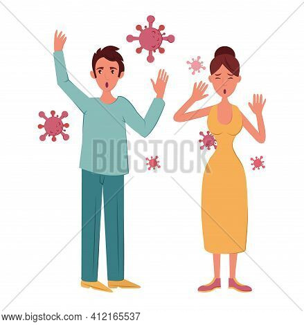 Preventing Spread Respiratory Infections. Man And Woman Are Worried And Wary Of Viruses, Vector Cart