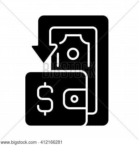 Cashback Black Glyph Icon. Cashback Reward Program. Financial Transactions. Benefits And Refunds. Pr