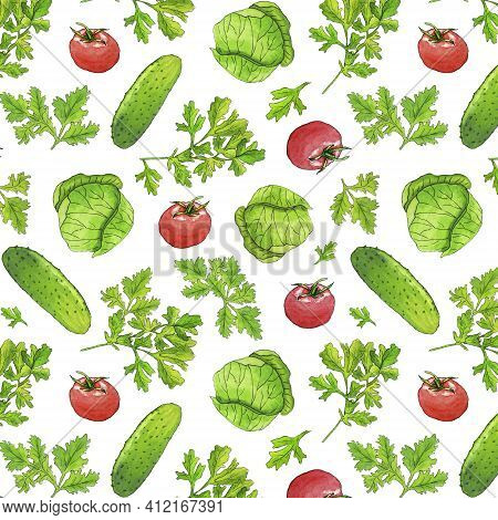 Watercolor Vegetable Seamless Pattern On White . Vitamin Vegetable Pattern With Green Cabbage, Tomat