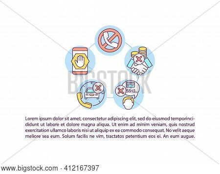 Phone Scams Prevention Concept Icon With Text. Protecting Mobile From Frauds. Password And Fingerpri