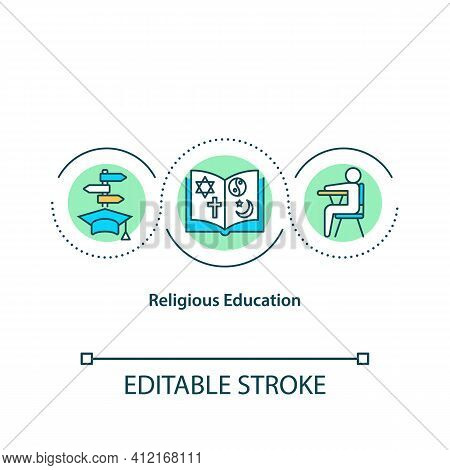 Religious Education Concept Icon. Sunday Church School. Lessons For Children. Religious Community Id