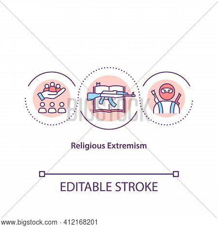 Religious Extremism Concept Icon. Armed Terrorists. Social Conflict. Danger Of Assault. Religion Iss