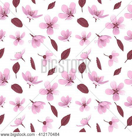 Pink Blossom Flowers On White Background. Gentle Spring Floral Seamless Pattern.