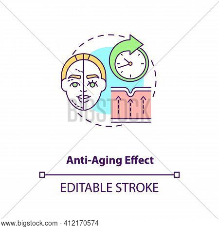 Anti Aging Effect Concept Icon. Smooth Skin. Wrinkle Treatment. Intermittent Fasting Benefit Idea Th