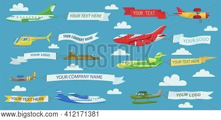 Creative Planes Flying With Advertising Banners Flat Illustration Set. Cartoon Aircrafts, Airplanes