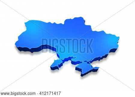Isolated Blue 3d Map Of Ukraine A White Background. 3d Illustration Of A Map Of Ukraine.
