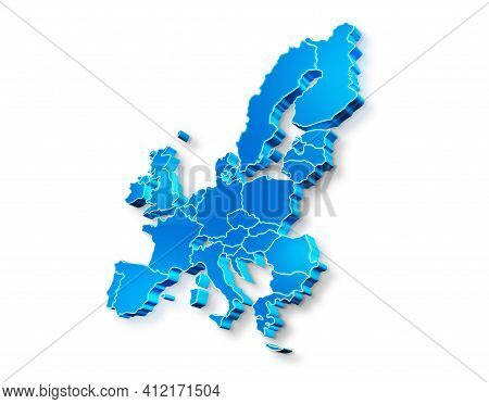Blue 3d Map Of European Union On A White Background. 3d Illustration Of A Map Of European Union.