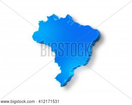 Isolated Blue 3d Map Of Brazil On A White Background. Isolated 3d Illustration Of A Map Of Brazil.