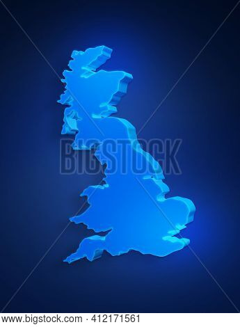 Blue 3d Map Of United Kingdom On A Dark Blue Background. 3d Illustration Of A Map Of United Kingdom.