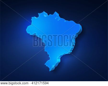 Blue 3d Map Of Brazil On A Dark Blue Background. 3d Illustration Of A Map Of Brazil.