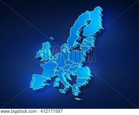Blue 3d Map Of European Union On A Dark Blue Background. 3d Illustration Of A Map Of European Union.