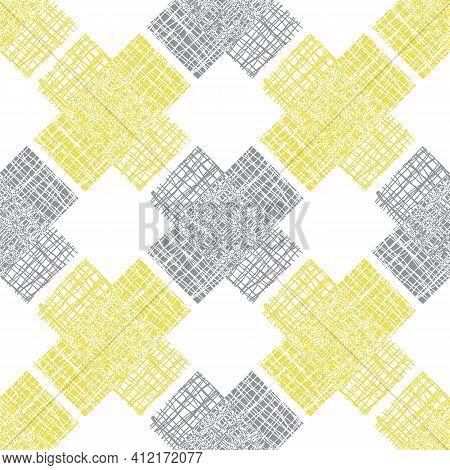 Irregular Vector Gauze Weave Effect Cross Seamless Pattern Background. Backdrop Of Yellow Grey Coars