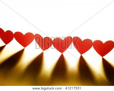 Group of red valentine hearts in chain