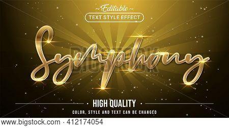 Editable Text Style Effect - Gold Symphony Text Style Theme.