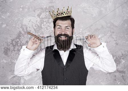 Premium Care. Elite Services. King Of Style. Bearded Hipster Shaving. Vintage Barber. Barber Hold Ha