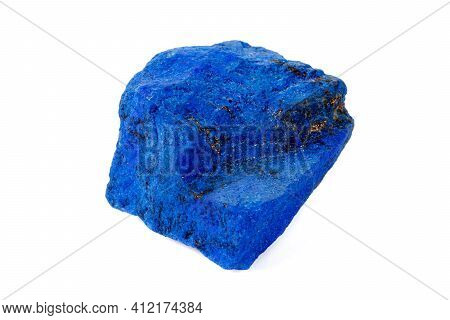 Macro Azurite Mineral Stone With Pyrite Inserts On A White Background Close Up