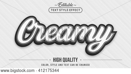 Editable Text Style Effect - White Creamy With Black Outline Text Style Theme. Graphic Design Elemen