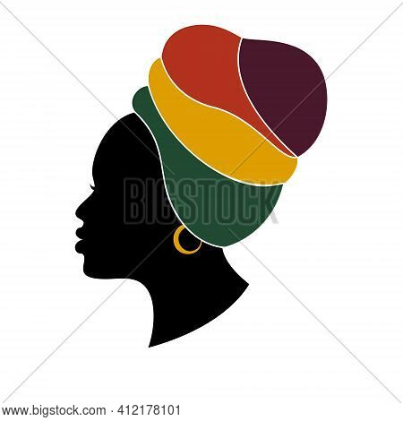 Black Woman Profile Is A Beatiful Female Head In A Traditional Head Wrap. Vector Illustration Isolat