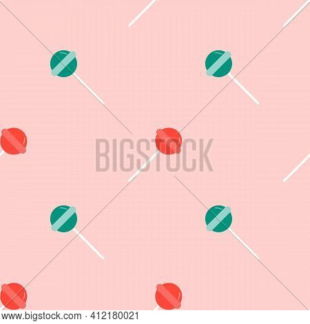 Lollipop Seamless Pattern. Sweet Candy Texture. Strawberry Sweets Taste Repeating Background. Cute O