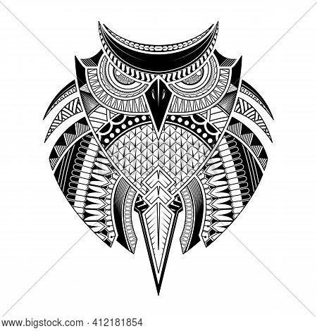 Vector Hand Drawn Owl. Black And White Tattoo. Ethnic, Poster, Print, T-shirt.