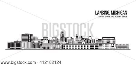 Cityscape Building Abstract Simple Shape And Modern Style Art Vector Design - Lansing City, Michigan