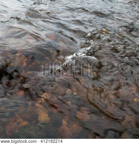 Shallow Abstract Turbulent Water Motion, Fast Stream Current Over Stones, Small Surge On Surface, Na