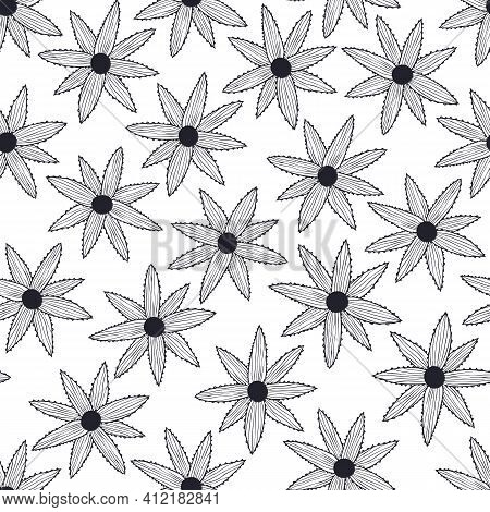 Vector Seamless Pattern With Simple Black Flowers On White Background. For Decoration, Invitation, F