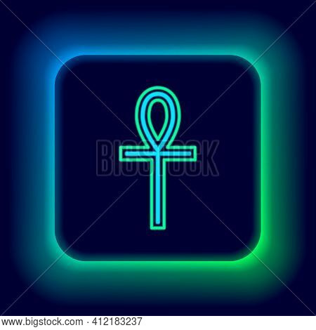 Glowing Neon Line Cross Ankh Icon Isolated On Black Background. Colorful Outline Concept. Vector