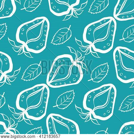 Strawberry Linocut Seamless Vector Pattern Background. Stencil Style Hand Drawn Berries And Leaves B