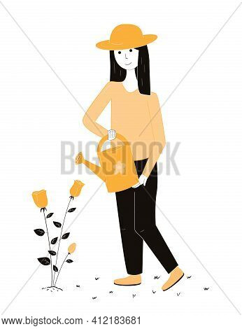 Girl In The Garden With A Hat Pours A Watering Can On A Flower Bed With Roses. Doodle Style Illustra