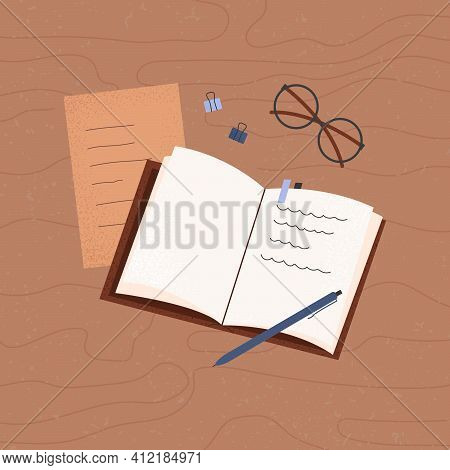 Notebook. Planning. Notepad With Notes On The Table, Top View. Workplace Organization Concept. Vecto