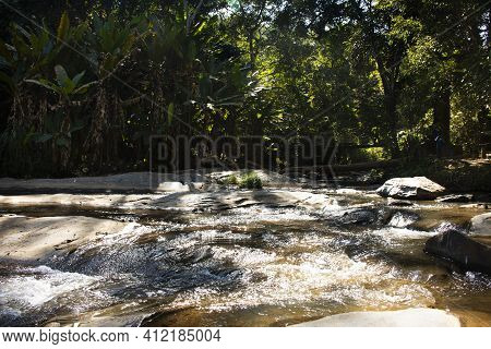 Mae Sa Waterfalls For Thai People And Foreign Travelers Travel Visit And Rest Relax Outdoor In Jungl