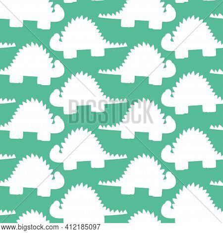 Dinosaurs Silhouettes Seamless Pattern Vector. Stegosaurus White Shapes On Green Seamless Pattern. J