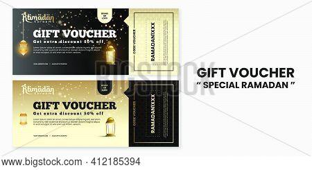 Ramadan Kareem Gift Voucher Discount In Luxury Style For Greeting Card, Voucher, Poster, Banner Temp