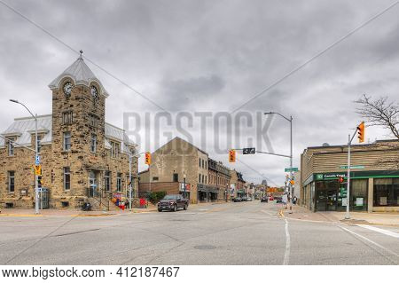 Fergus, Ontario/canada - October 15: A View Of The Downtown On [october 15, 2020] In [fergus]