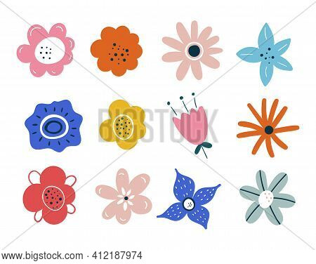 Set Of Spring Summer Flowers Isolated On White Background. Easter Decoration. Set Of Floral Branch.