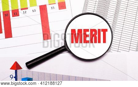 On The Desktop, Graphs, Reports, A Magnifying Glass With The Inscription Merit. Business Concept