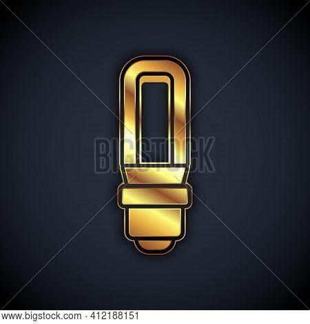Gold Led Light Bulb Icon Isolated On Black Background. Economical Led Illuminated Lightbulb. Save En
