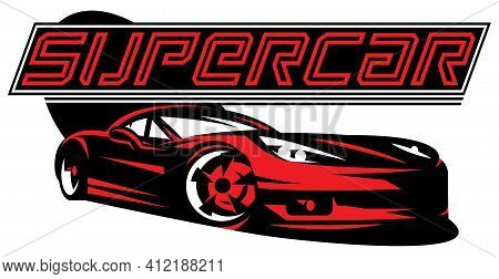 Supercar. Vector Color Illustration. Editable Template For Business Cards.
