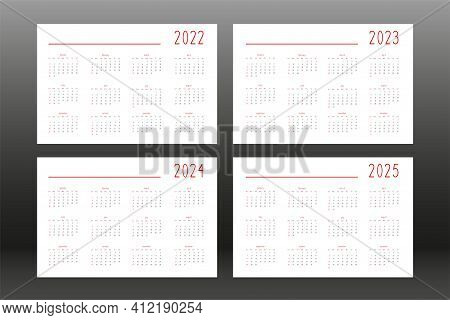 2022 2023 2024 2025 Calendar For Personal Planner Diary Notebook, Cute Minimalists Style. Individual