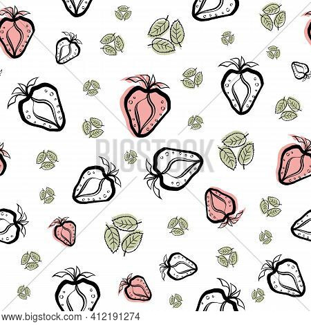 Strawberry And Leaf Linocut Seamless Vector Pattern Background. Stencil Style Hand Drawn Berries And